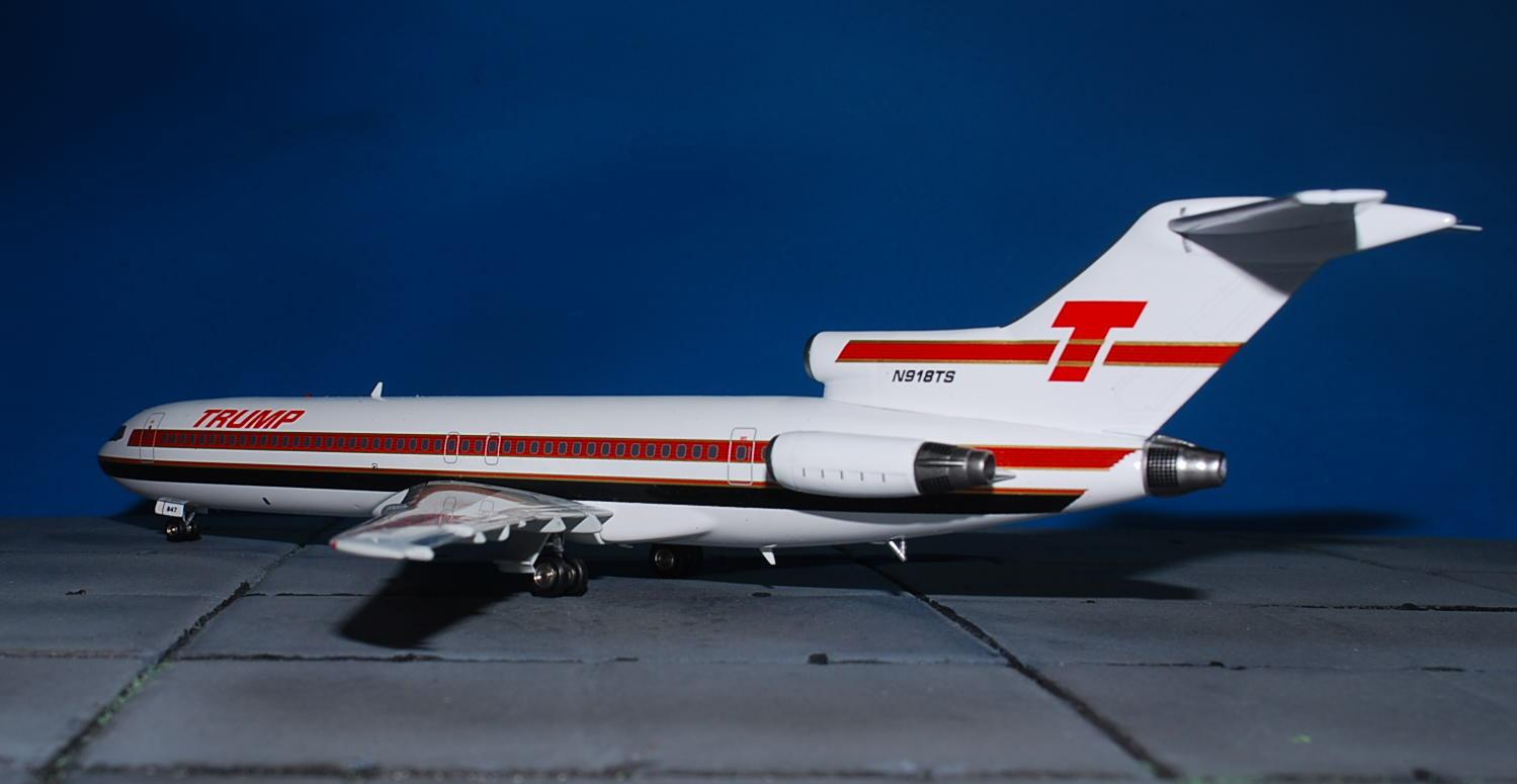 Inflight 200 WB722TS01 1//200 Trump Shuttle Boeing 727-200 N918TS avec support