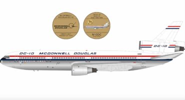InFlight 200 IFDC1050 - McDonnell Douglas DC-10-10 , 'N10DC' McDonnell Douglas Corporation '50th ANNIVERSARY' + COIN