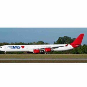 "JC Wings JC- XX4452 - Airbus A340-600 , '9H-EAL' ""Thank You NHS"" Maleth Aero - Malta"