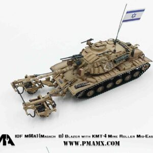 PMA P0337 - M60A1 Patton / MAGACH6B Blazer MBT (Main Battle Tank w/reactive armor) with KMT-4 Mine roller , IDF - Israel Defense Forces , Middle East War.Modely tanků.Diecast models tanks.Modely vojenské techniky. Diecast models military vehicles.Modely aut. Diecast models cars.Modely letadel.Diecast models aircraft. Diecast models helicopters.Modely raket.Diecast models rockets.Sběratelské modely.Hotové modely.Sběratelské modely tanků.Kovové modely.